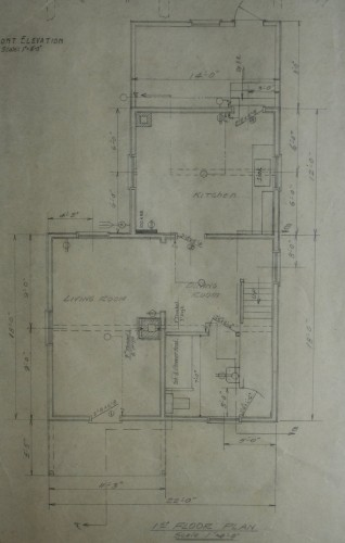 Main floor plan of Wyborn section house. Excerpt from ACR drawing # E-23-4 (Wyborn Section House). Collection of Sault Ste. Marie Public Library Archives.