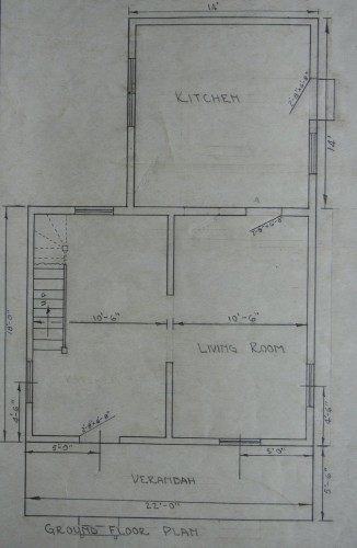 Main floor plan of standard section house. Excerpt from ACR drawing # C-5-4 (Standard Section House). Collection of Sault Ste. Marie Public Library Archives.